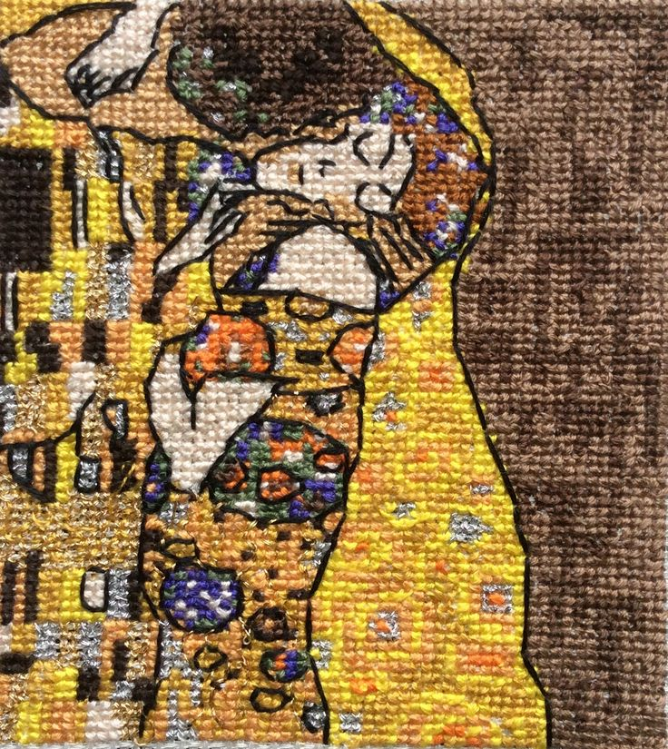 point de croix, cross stitch  art nouveau,klimt, the kiss