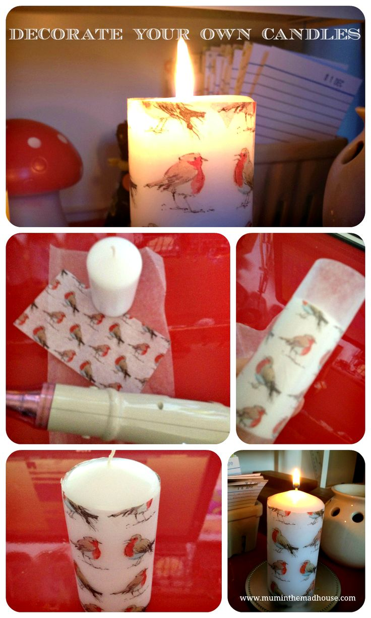 I measured my candle both height and circumference (I used a piece of wool for the circumference!) and cut my tissue paper to size. Then I cut a larger piece of waxed paper Wrap the tissue around the candle and then cover with the wax paper, pulling it tight. The wax paper makes this easier to do and stops you burning your hands especially with thinner candles. Then use the heat gun or hairdryer to melt the surface wax and the tissue paper will adhere to the candle. I have been burning the…