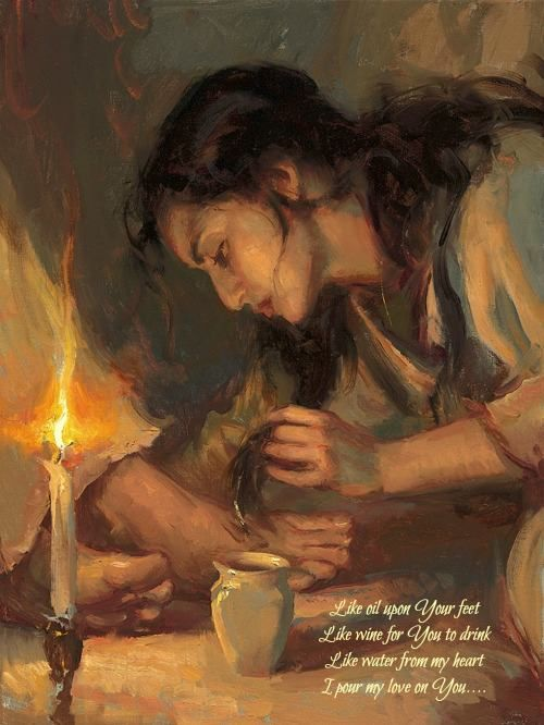 Mary washing the feet of Jesus with her hair❤️                                                                                                                                                                                 More