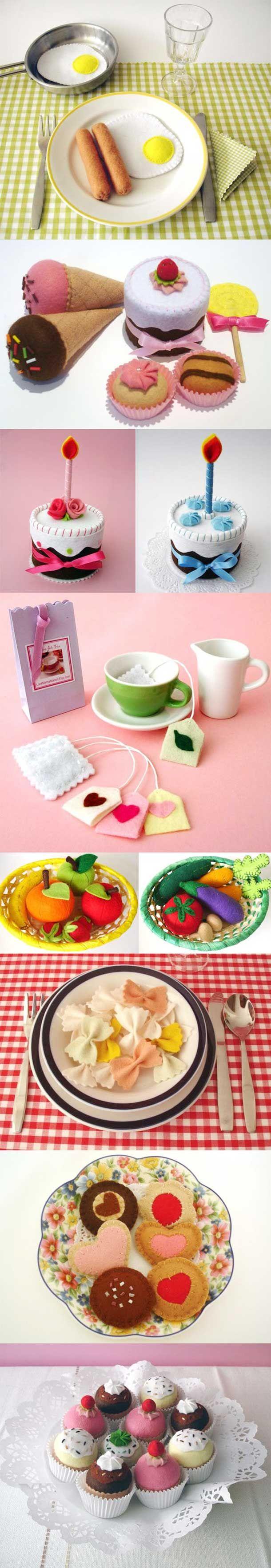 10 Brinquedos de comida feitos com Fetro                                                                                                                                                                                 Mais