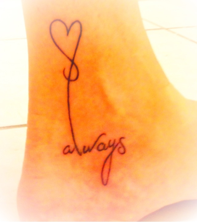 Under the ankle tattoo!   I love it!❤