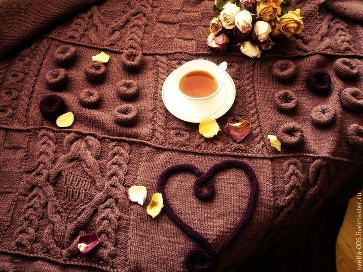 Knitted plaid / Плед Счастливое сердце - коричневый, плед вязаный, плед из квадратов, плед спицами, пэчворк