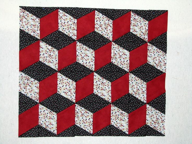 """Unique method for sewing """"cube"""" quilt shapes with straight seams"""
