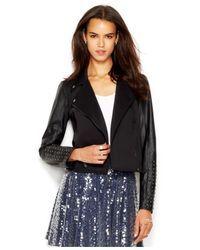 RACHEL Rachel Roy | Black Studded Fauxleather Moto Jacket | Lyst