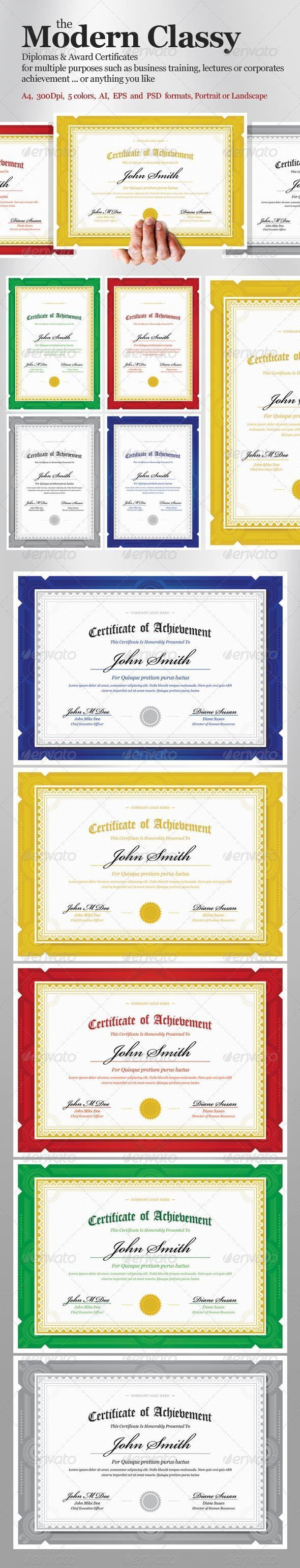 Modern Classy diploma award Certificate - Certificates Stationery