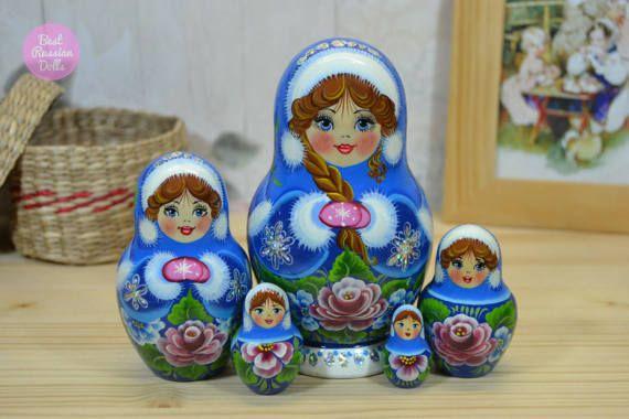 Wooden Matryoshka, Gift for women, Russian nesting doll, Original artwork, Traditional handmade babushka in sky winter shawl, Folk art.