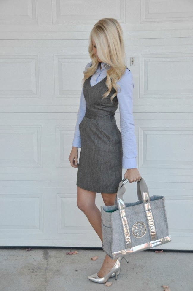 Light purple and grey - Collared blouse under grey dress - McKenna Bleu: Cool Silvers