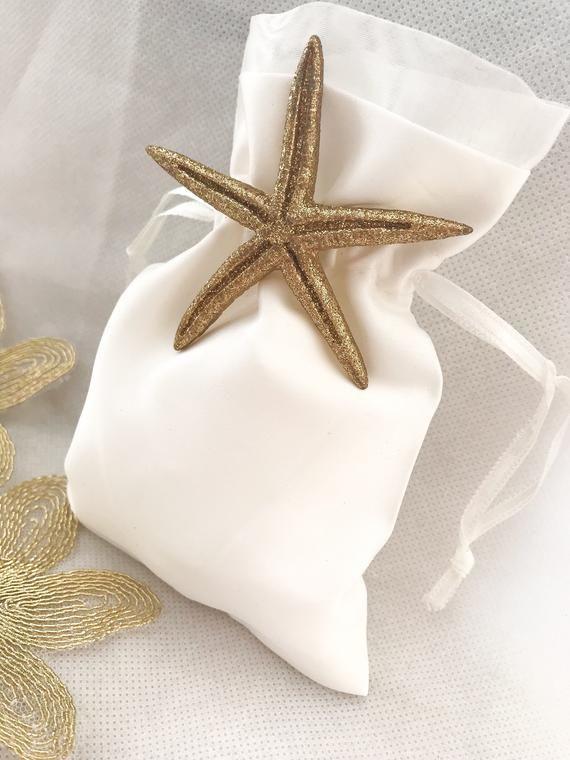 Starfish Favor Bag Satin Favor Bags Starfish Wedding Favor Etsy In 2020 Starfish Wedding Favors Hot Chocolate Wedding Favors Inexpensive Wedding Favors
