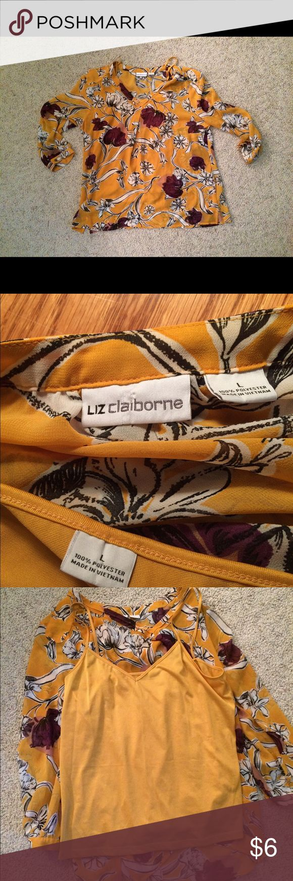 Liz Claiborne Combo (Tank&Top) Yellow tank with yellow & purple flowers outer sheer shirt. These colors look sharp together & this is a shirt you can wear all seasons (just add a cardigan) & for all occasions (work, casual, formal). Preowned worn once with no stains or issues. Liz Claiborne Tops Blouses