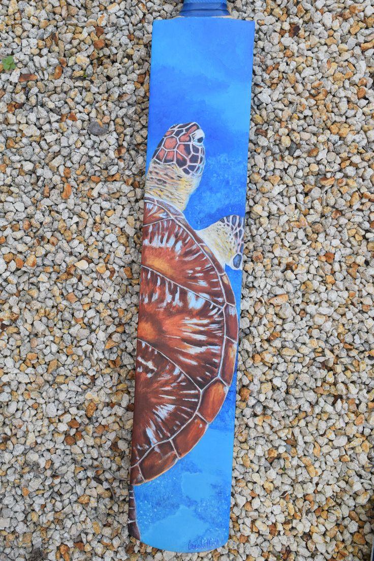 The Turtle is a painted cricket bat by Carole Elliott in support of #willo_cricket_bats #art #cricket #charityauction #turtle #turtleart #originalart #Australianart #painting