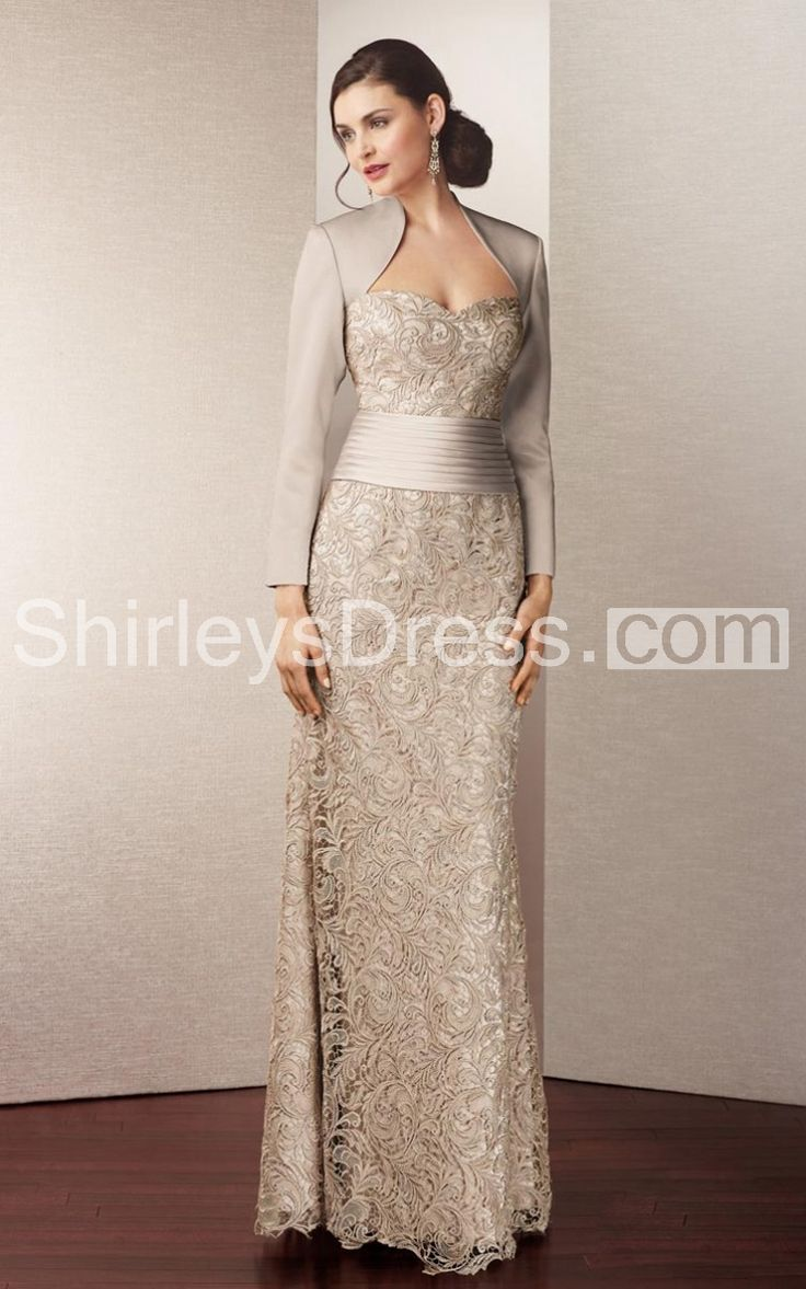 Champagne satin and lace sheath dress, for MOB or MOH or renewal of vows. $179.00 USD. To save money in the budget wedding the MOB will be buying her own outfit and accessories, the bride could also ask the bridesmaides to buy their own outfits and accessories and the groom will ask the groomsmen.