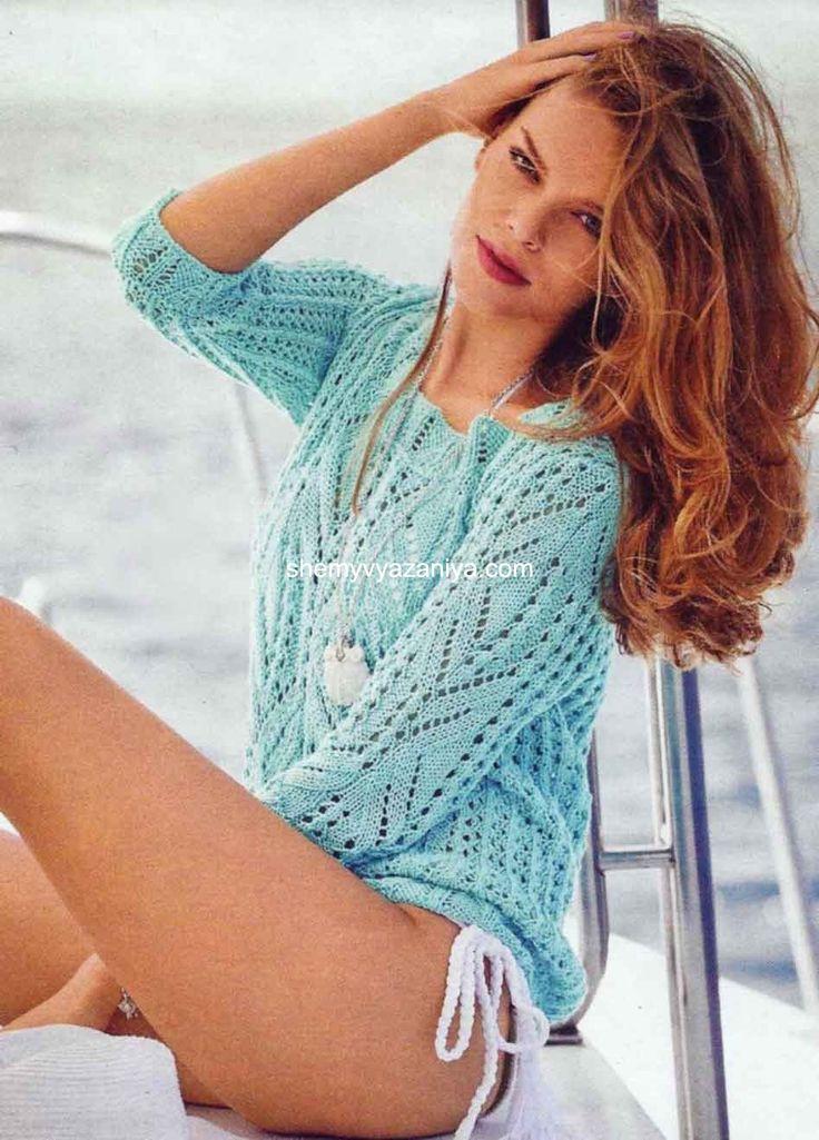 Пуловер ажурными узорами