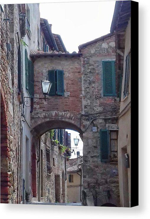 Cetona Canvas Print featuring the photograph Alleyway Cetona Tuscany by Dorothy Berry-Lound #cetona #travelpic #italiantravel #tuscany #artforsale #oldtown