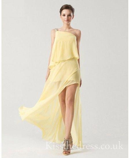 Yellow One Shoulder Chiffon High Low Bridesmaid Dress GW012 - Kissthedress.co.uk