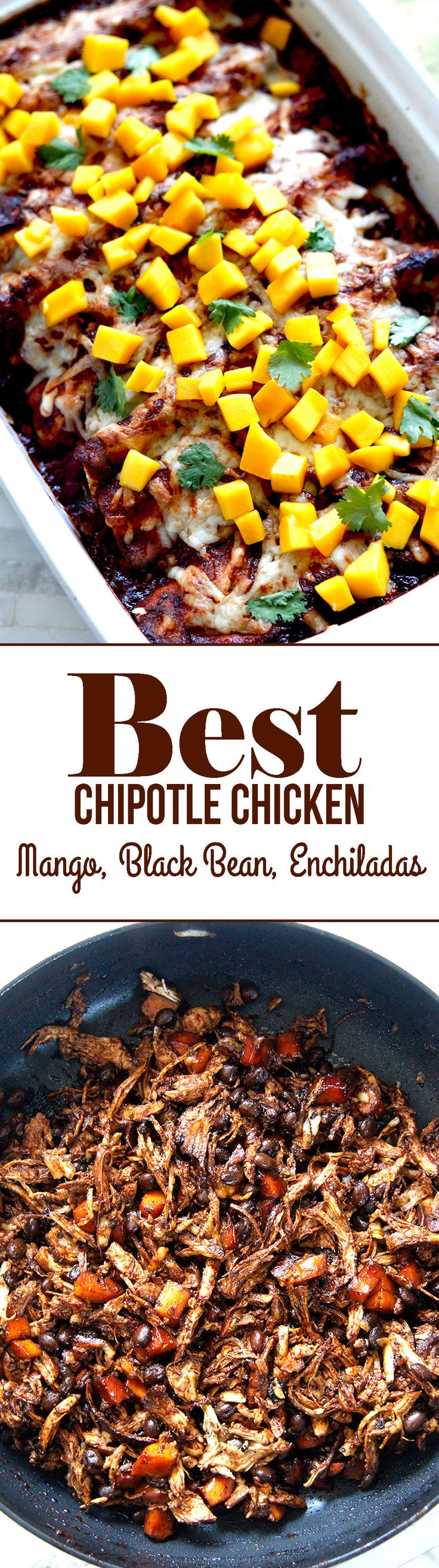 Chipotle Chicken, Mango, Black Bean Enchiladas - seriously the BEST chicken enchiladas with rave reviews.  Sweet, savory and spicy in tantalizing red Coke enchilada sauce.  #chickenenchiladas #enchiladas #chipotlechicken
