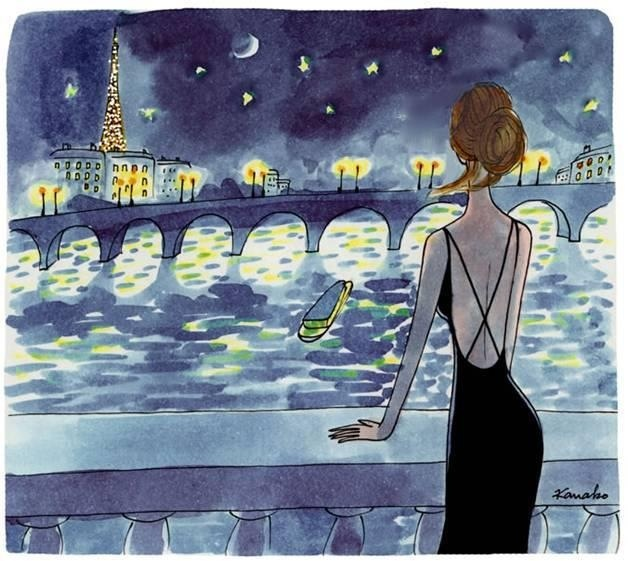 I love the gorgeous illustrations by Kanako on the My Little Paris website. http://www.mylittleparis.com/ The website has great information about 'being' in Paris, but I visit for the beautiful, delightful, happy-making artworks. I see this and immediately want to watch 'Midnight in Paris'.