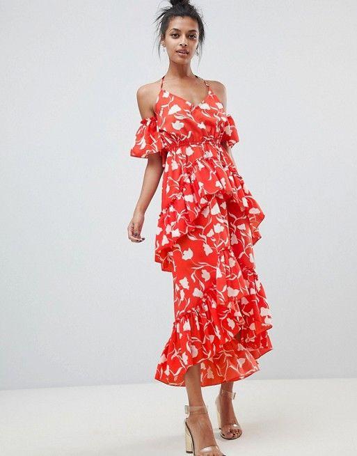 feb05ab464 DESIGN senorita floral print tiered frill halter maxi beach dress ...