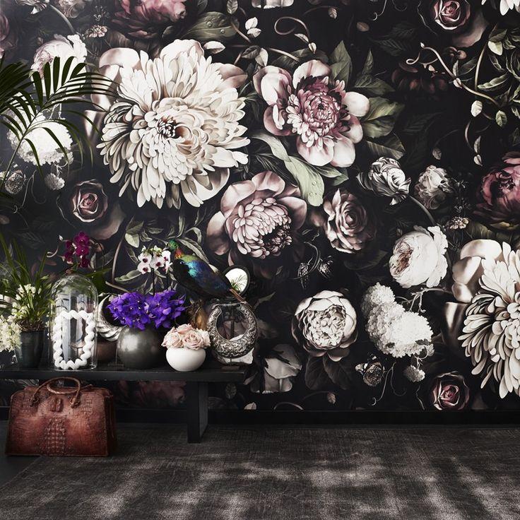 Dark Floral II Black Saturated XL Wallpaper - by Ellie Cashman Design