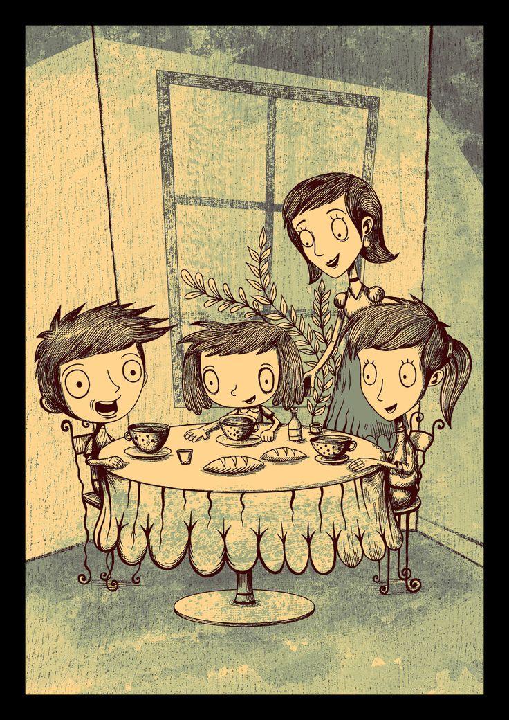 Ilustración del cuento, la nena que quería ser monstruo 2014 Pablo Zerda