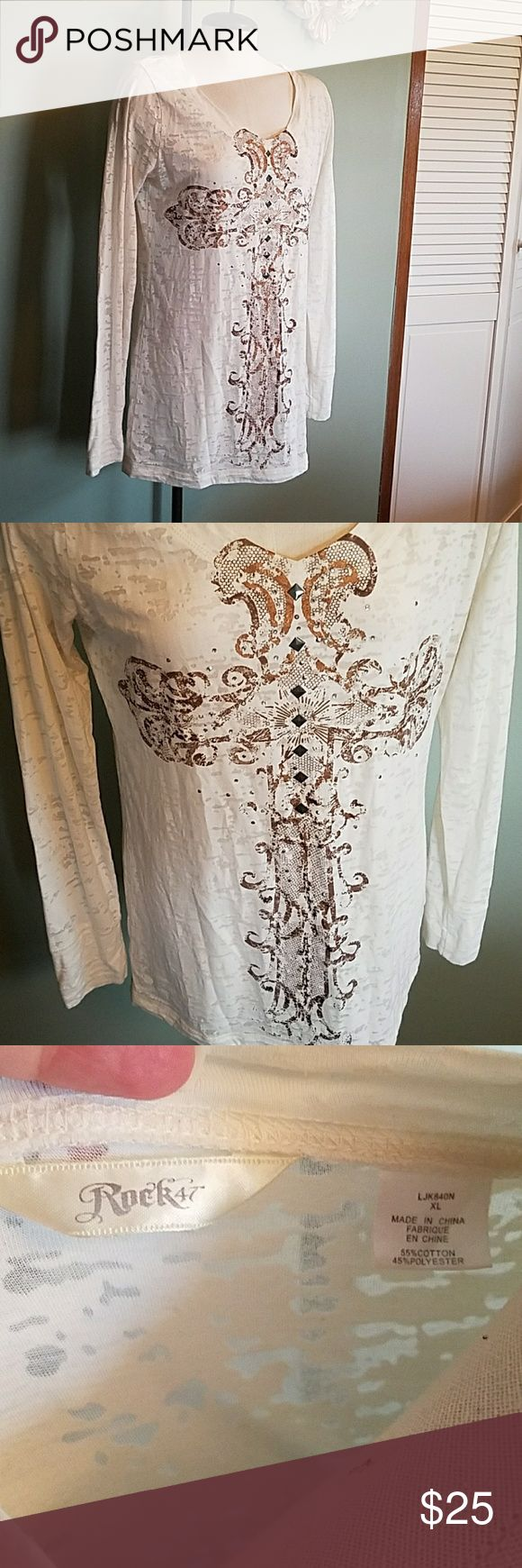 Rock 47 Long Sleeve Burn Out Shirt XL This top is in like new condition.. worn once.. no missing stones.. perfect for cool country night concerts coming up! Bundle for discount!   *O* Rock 47 Tops Tees - Long Sleeve