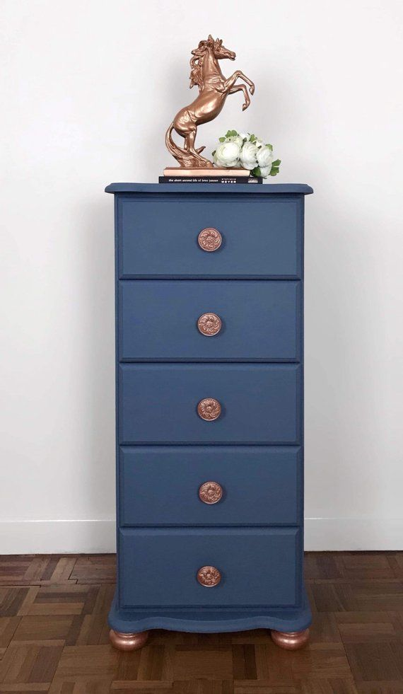 Best Mid Blue And Rose Gold Tall Boy Chest Of Drawers Hand 400 x 300