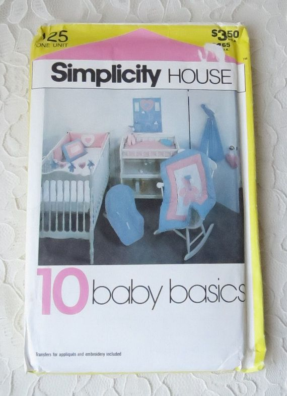 Simplicity Sewing Pattern 125 Baby Room Accessories Quilt Crib Bumpers Diaper Holder Crib Toy Organizer & More Vintage 1982