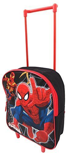 Marvel SpiderMan Kids Boys Travel Trolley Rolling Wheeled Backpack Luggage Bag ** You can get more details by clicking on the image.