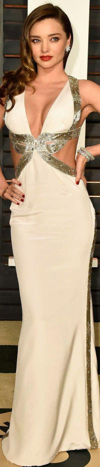 Miranda Kerr 2015 Vanity Fair Oscar Party. White long maxi prom evening dress. #women #fashion outfit #clothing style apparel @roressclothes closet ideas