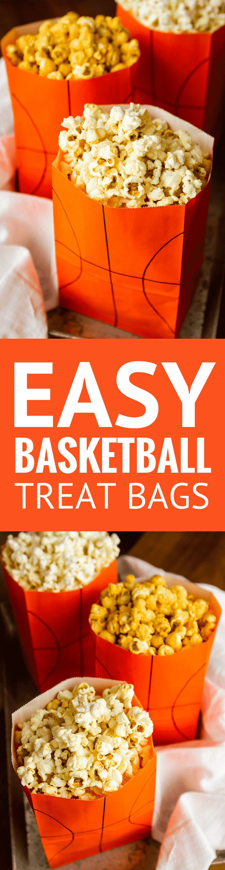 Easy DIY Basketball Treat Bags -- this fun basketball treat bags craft is SO quick and easy to complete! | diy basketball goodie bags | basketball party favors ideas | basketball party | march madness ideas | find the tutorial on unsophisticook.com