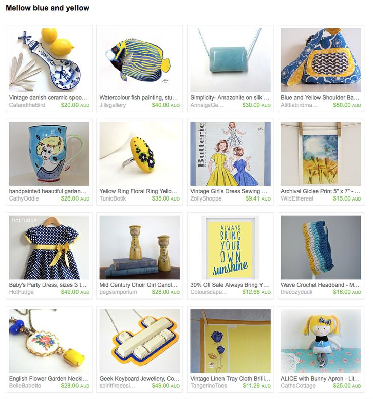 Mellow blue and yellow by Joanne on Etsy