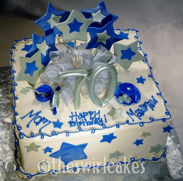 70th Birthday Cake Square Buttercream Fondant Stars Royal Blue Silver White Bow Rolling Pin Bowl Ch