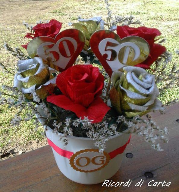 Ricordi di Carta-vaso con rose in carta crespa
