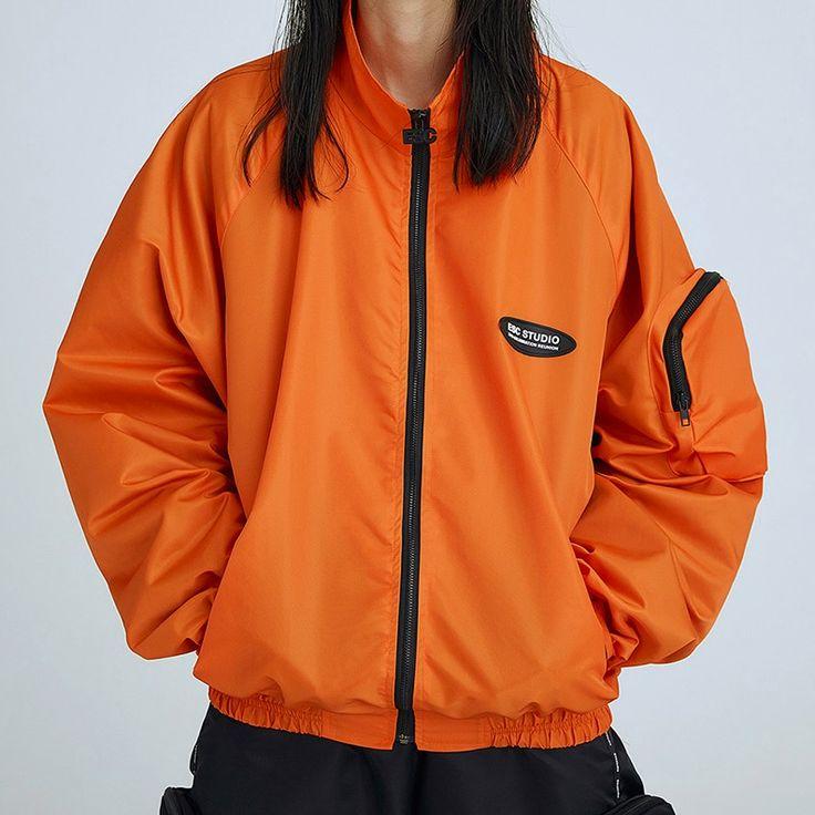 ポケットスリーブスタンドカラージャケット(オレンジ)