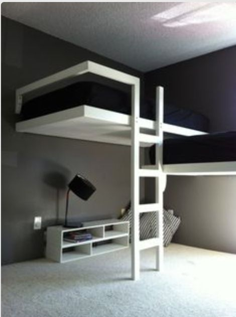 this is soo cool!! it would work great as beds for sharing a room!! room saver for two people sharing one roo,