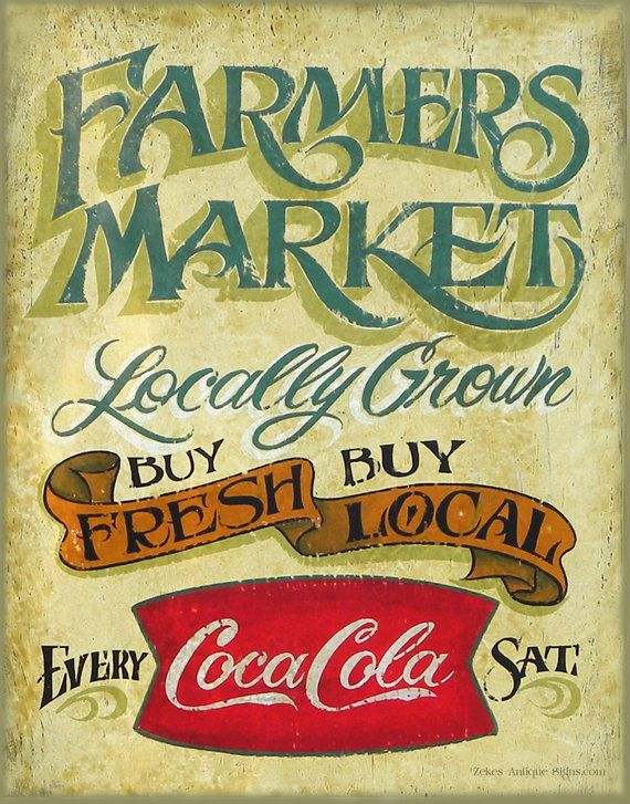 Farmers Market Print,with MAT,  faux vintage, wall hanging, kitchen decor,art