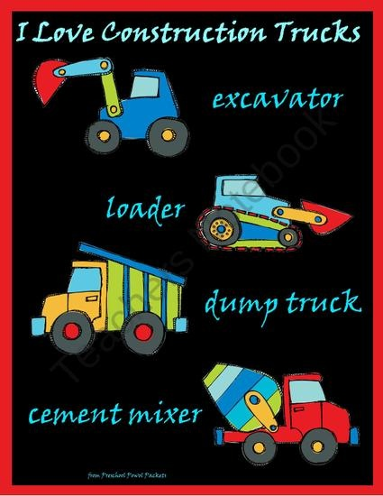 I Love Construction Trucks Poster from PreschoolPowolPackets on TeachersNotebook.com (1 page)  - Free construction truck poster!