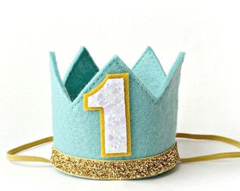 Glittery Gold and Blue Birthday Crown and Bow by Kutiebowtuties
