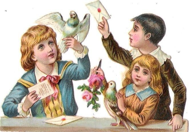 Oblaten Glanzbild scrap die cut chromo Kind child Taube dove pigeon colombe