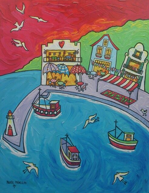 """Kalkbaai-my favourite harbour!' by Marie Prinsloo (for sale at Cameleon Art Gallery,Kalkbaai)"