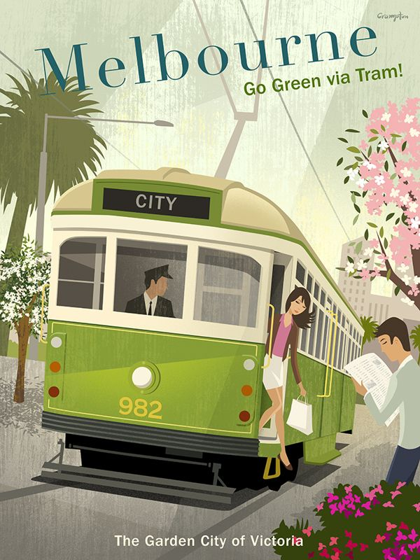 Melbourne Tram poster by Michael Crampton, via Behance