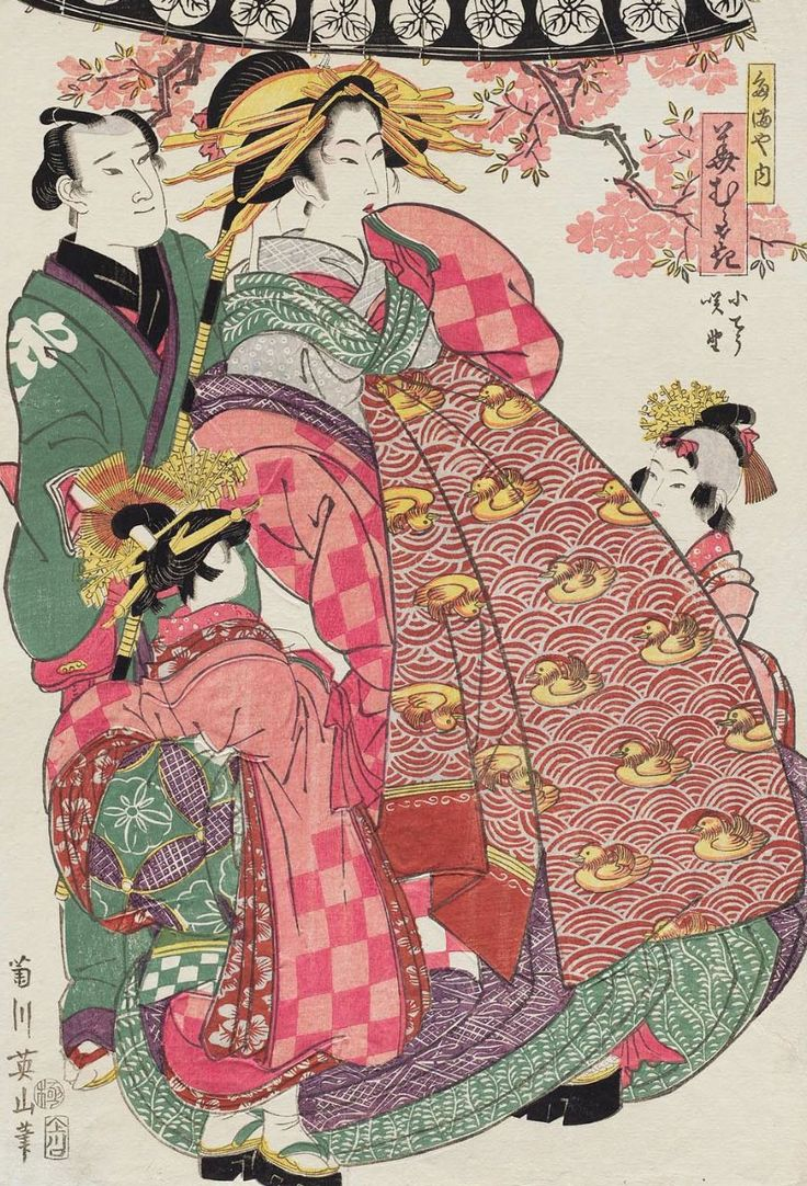 Hanamurasaki of the Tamaya. Ukiyo-e woodblock print, early 1800's, Japan, by artist Kikugawa Eizan.