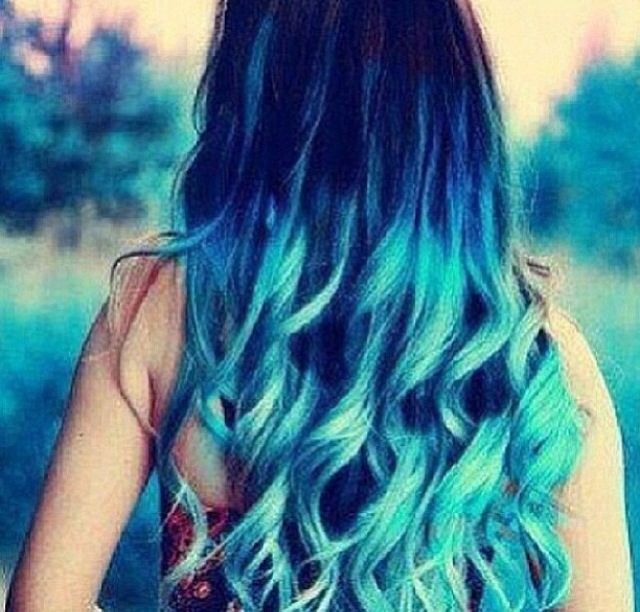 Dark Blue To Light Ombre On Long Hair