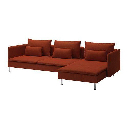 SÖDERHAMN Divano a 3 posti e chaise-longue - Isunda arancione - IKEA