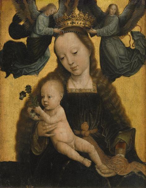 Gerard David, c.1460-1523, Netherlandish, Madonna & Child with Angels, c.1520. Museo del Prado, Madrid. Early Netherlandish Painting.