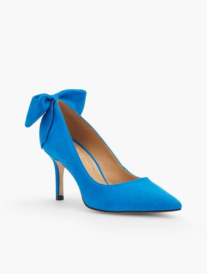 These Erica Back-Bow Suede Pumps are sooo cute and sexy! This color is beautiful! #style #afflink