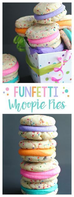 Funfetti Whoopie Pies-So Easy (5 ingredients), So cute! Just mix together white cake mix, butter, an egg, rainbow sprinkles, bake, and then spread frosting in the middle!