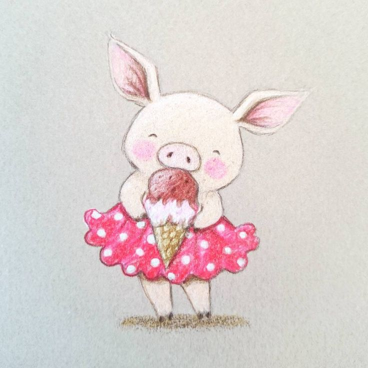 pig eating ice cream by aida zamora
