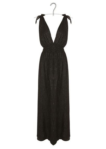 Robe longue carreaux en lurex  Noir by GAT RIMON
