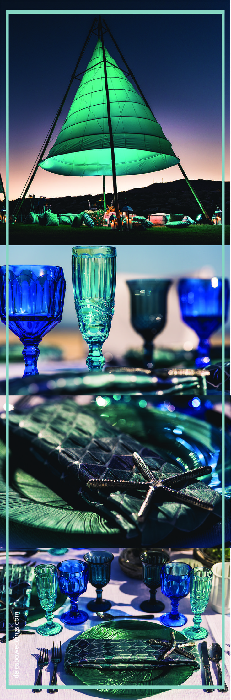 Sea glass colors, candles and lights for your beach wedding in Cabo! Get that Baja vibe at your destination wedding!   Click on the image and find our more about us! We will be happy to help you plan your wedding!
