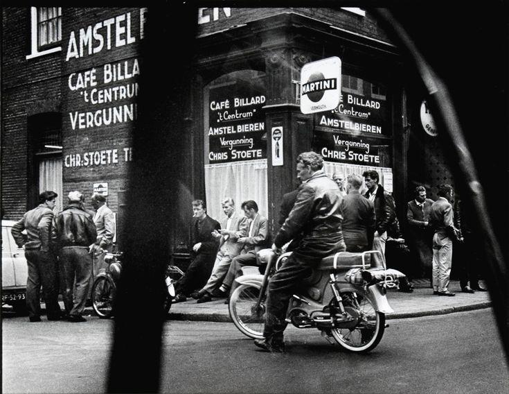 1955. Cafe 't Centrum at night on the Haarlemmerstraat in Amsterdam. Photo Ed Van der Elsken.
